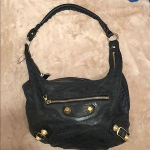 Balenciaga black leather purse